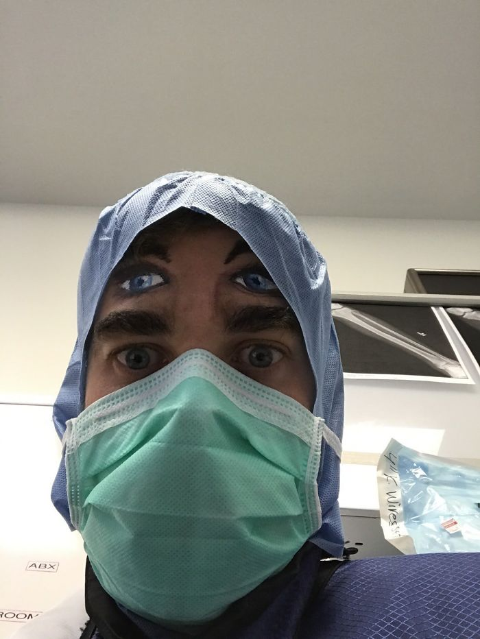 I Work In An Operating Room And We Had A Face Painter Come Into Work. This Is What Patient See As They Are Coming Out Of Anesthesia