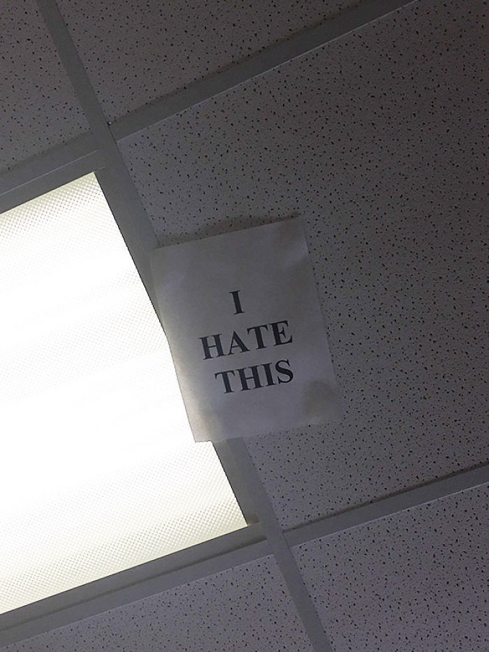 Sign Taped To The Ceiling Of My OBGYN's Exam Room. Amen